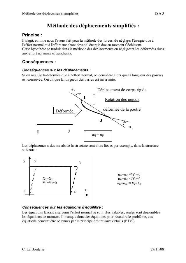 Méthode des déplacements simplifiés ISA 3 Méthode des déplacements simplifiés : Principe : Il s'agit, comme nous l'avons f...