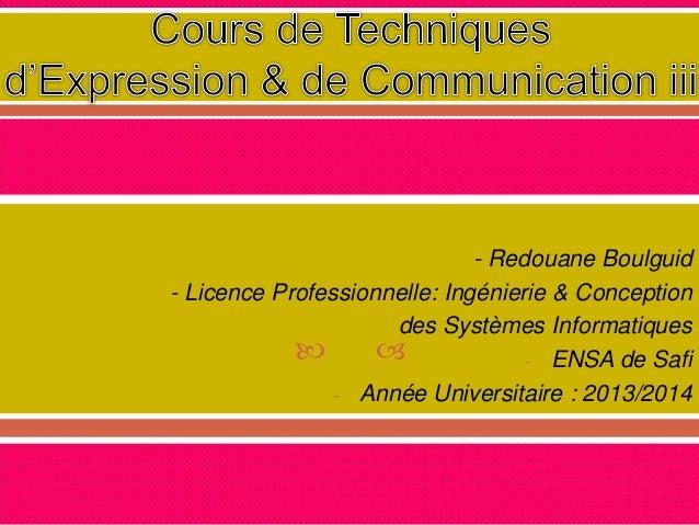   - Redouane Boulguid - Licence Professionnelle: Ingénierie & Conception des Systèmes Informatiques - ENSA de Safi - Ann...