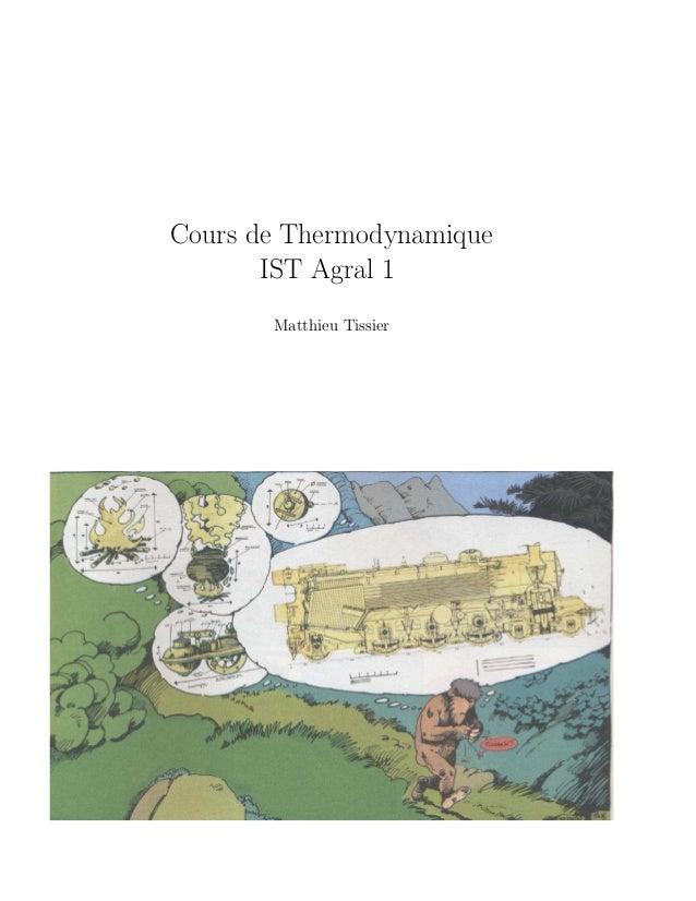 Cours de Thermodynamique       IST Agral 1       Matthieu Tissier
