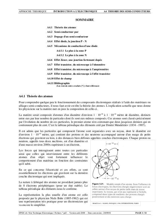 APPROCHE THEORIQUE INTRODUCTION A L'ELECTRONIQUE A4 THEORIE DES SEMI-CONDUCTEURS EPSIC.ch / Site Technique Electronique / ...