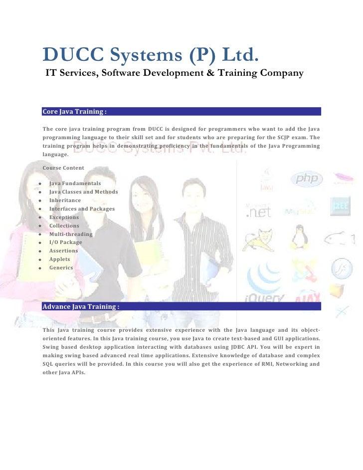 DUCC Systems (P) Ltd. IT Services, Software Development & Training CompanyCore Java Training :The core java training progr...