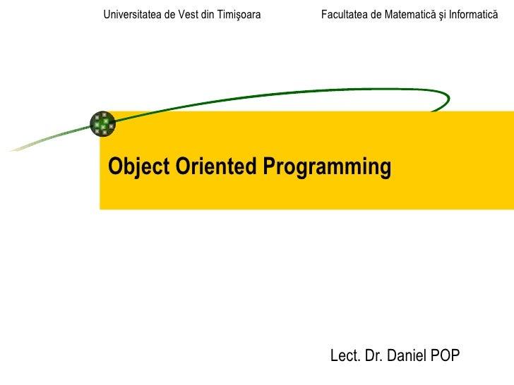 Universitatea de Vest din Timişoara   Facultatea de Matematică şi InformaticăObject Oriented Programming                  ...