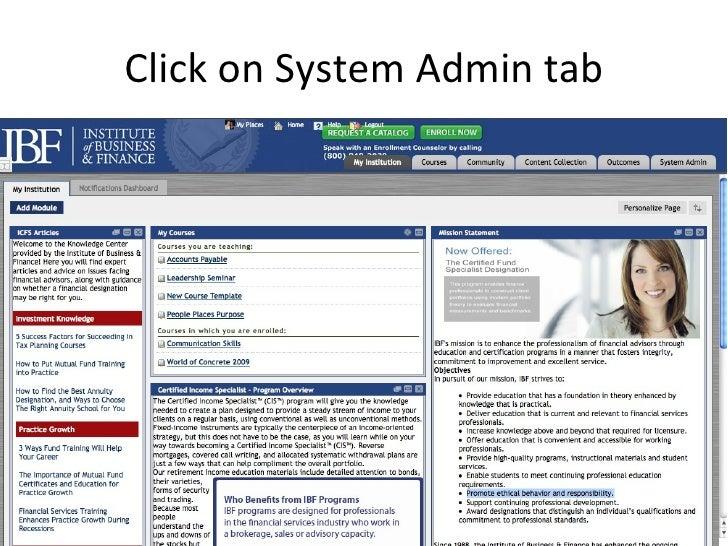 Click on System Admin tab