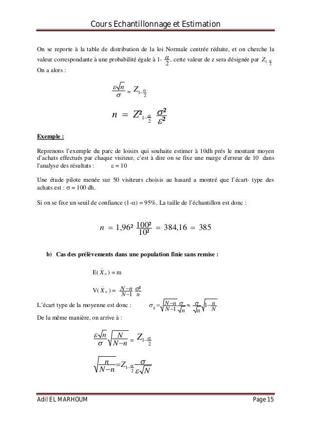 Cours echantillonnage et estimations - Table de loi normale centree reduite ...