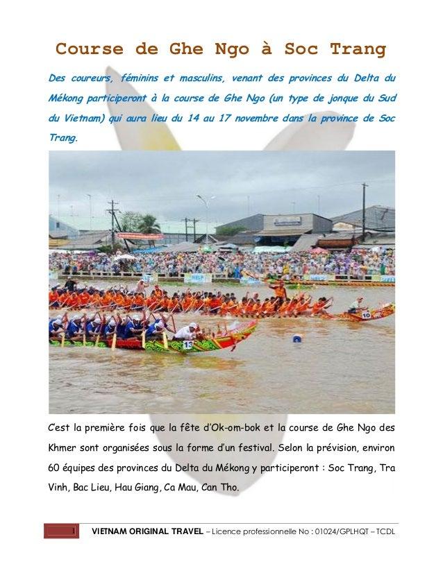 Course de Ghe Ngo à Soc Trang Des coureurs, féminins et masculins, venant des provinces du Delta du Mékong participeront à...