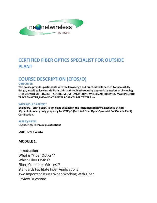 Course Description Cfoso Certified Fiber Optics Specialist In Outsid