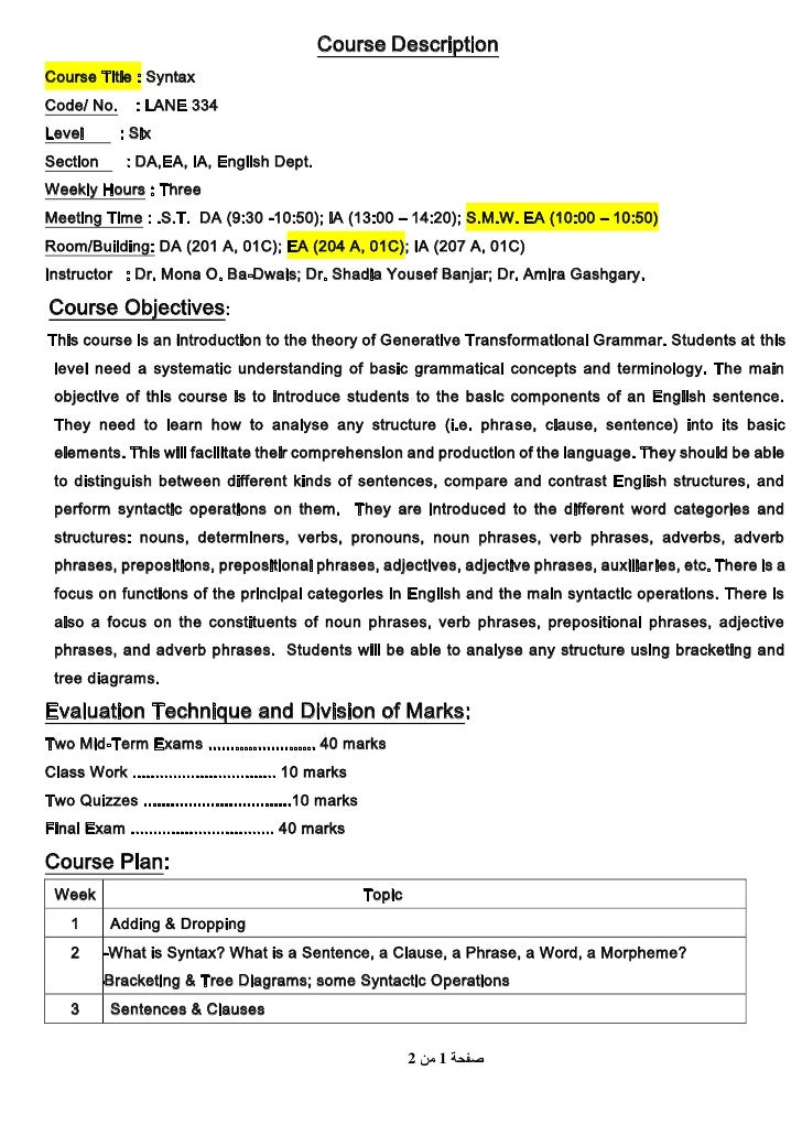 Sample Course Descriptions |Course Description