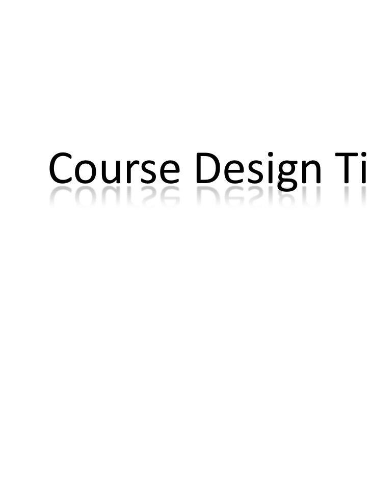 Course Design Tips