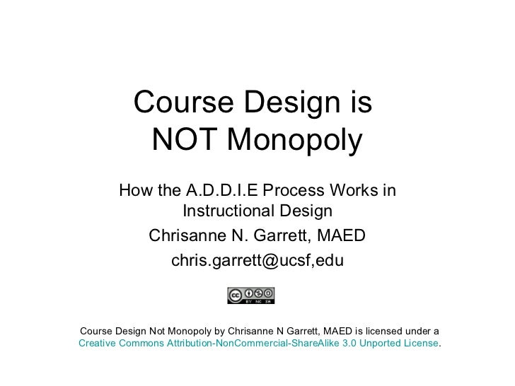 Course Design is  NOT Monopoly How the A.D.D.I.E Process Works in Instructional Design Chrisanne N. Garrett, MAED chris.ga...