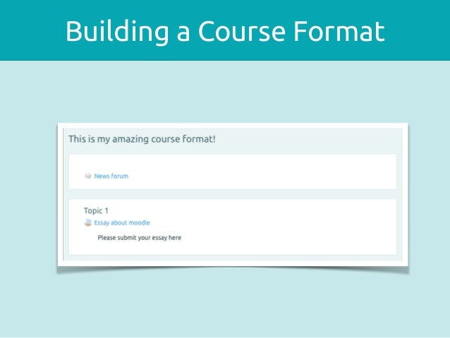 Course Formats In Moodle