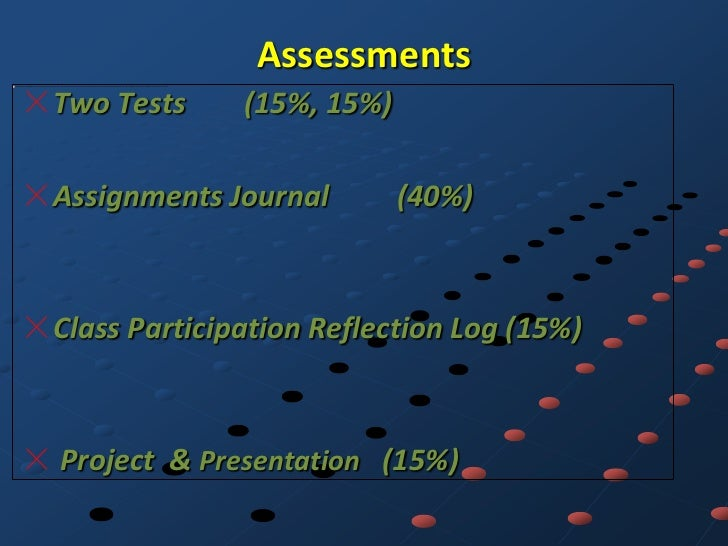 AssessmentsTwo Tests     (15%, 15%)Assignments Journal        (40%)Class Participation Reflection Log (15%)Project & Prese...