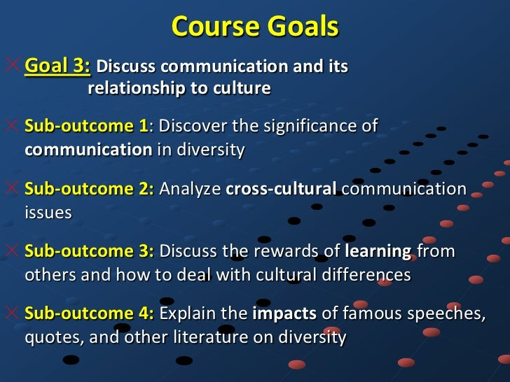 Course GoalsGoal 3: Discuss communication and its       relationship to cultureSub-outcome 1: Discover the significance of...