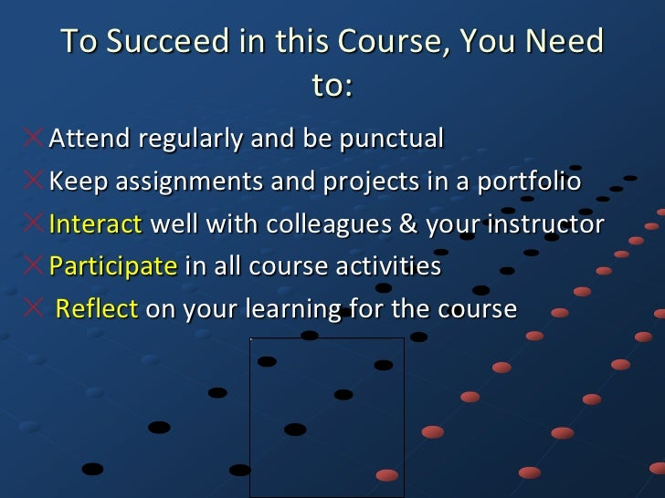 To Succeed in this Course, You Need                  to:Attend regularly and be punctualKeep assignments and projects in a...