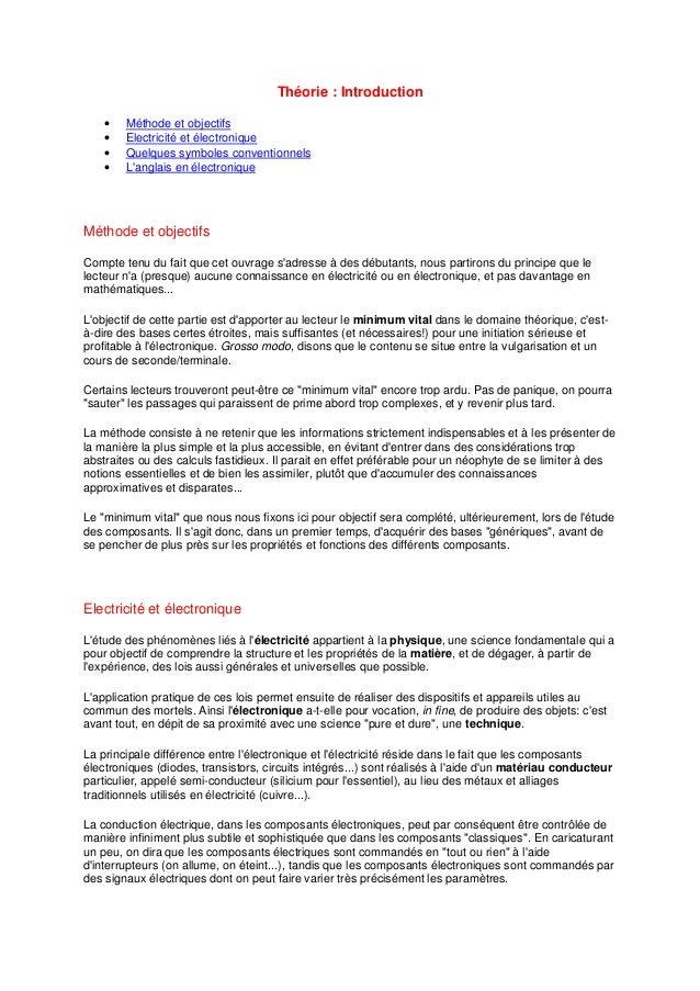 Théorie : Introduction  · Méthode et objectifs  · Electricité et électronique  · Quelques symboles conventionnels  · L'ang...