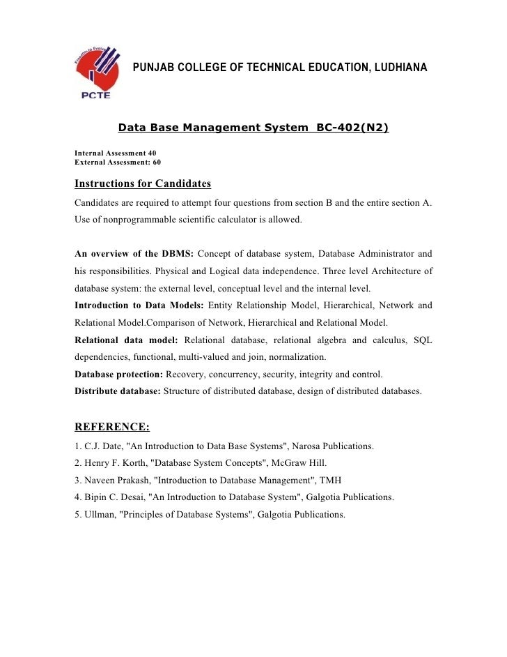 PUNJAB COLLEGE OF TECHNICAL EDUCATION, LUDHIANA           Data Base Management System BC-402(N2)Internal Assessment 40Exte...