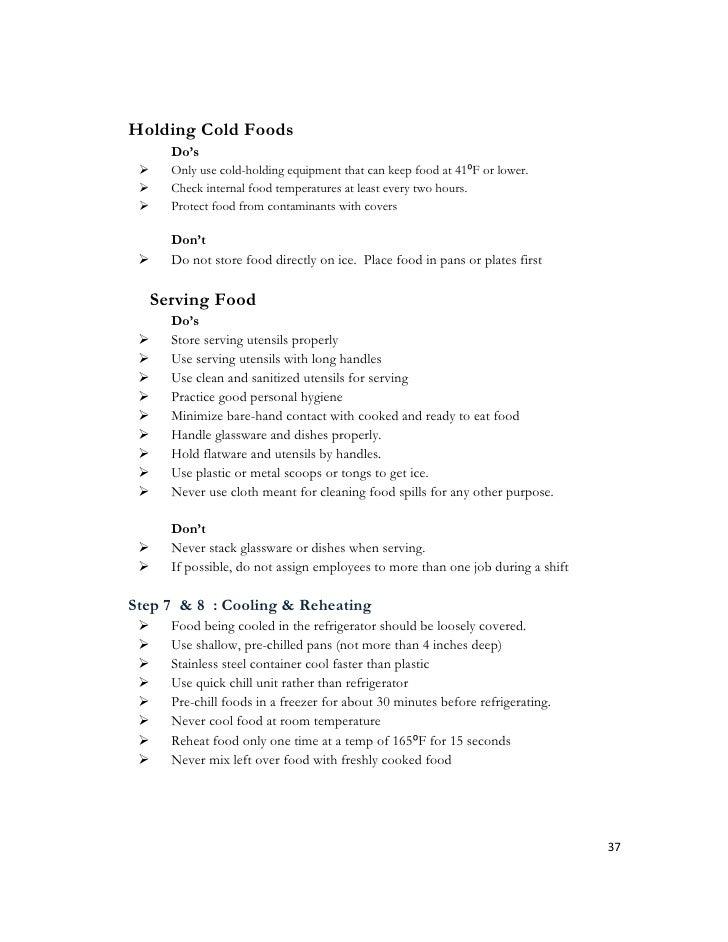 Food Service Sanitation Test Questions