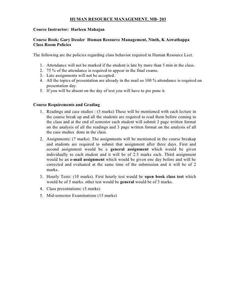 HUMAN RESOURCE MANAGEMENT, MB- 203Course Instructor: Harleen MahajanCourse Book: Gary Dessler Human Resource Management, N...
