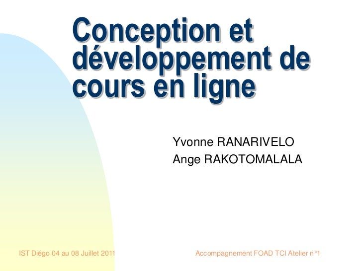 Conception et                développement de                cours en ligne                                  Yvonne RANARI...