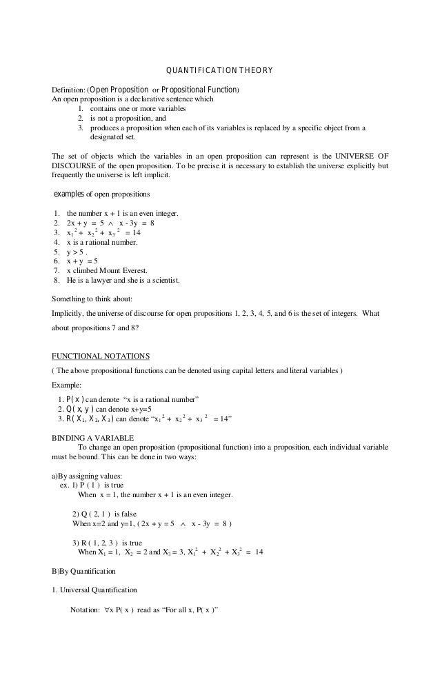 QUANTIFICATION THEORYDefinition: (Open Proposition or Propositional Function)An open proposition is a declarative sentence...