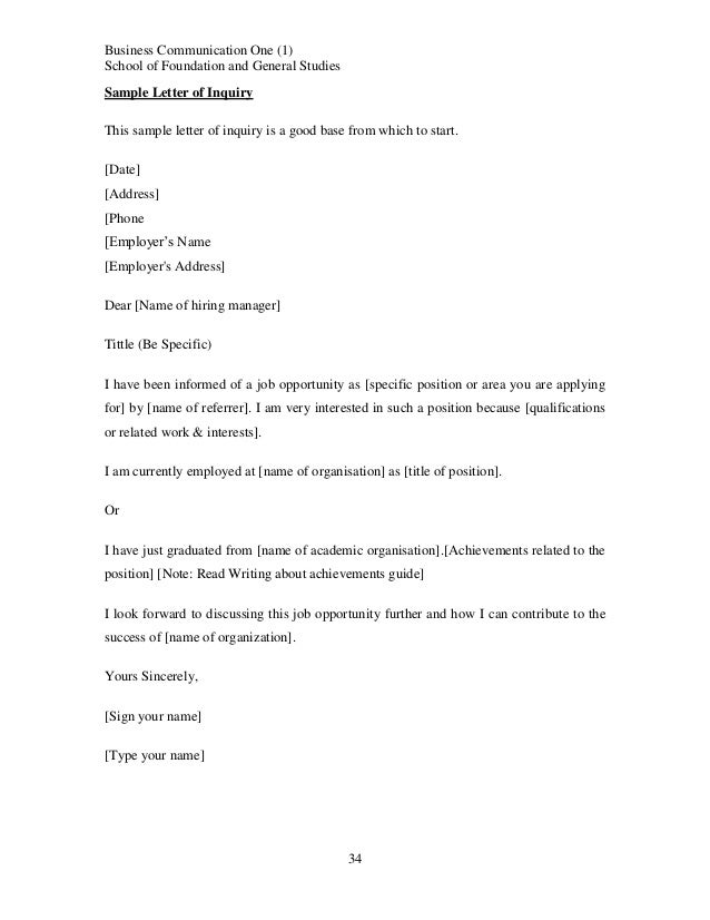 Inquiry Letter Sample Inquiry Letter Sample Cover Letter Written To