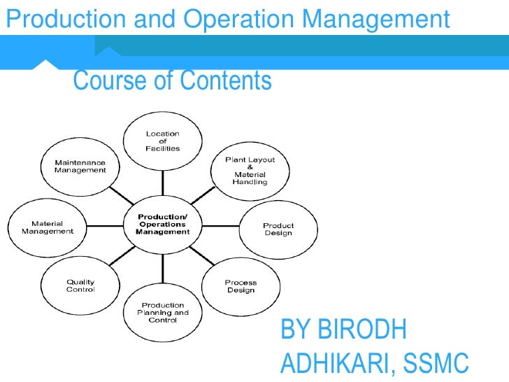 Production and Operation Management<br />Course of Contents<br />BY BIRODH ADHIKARI, SSMC<br />