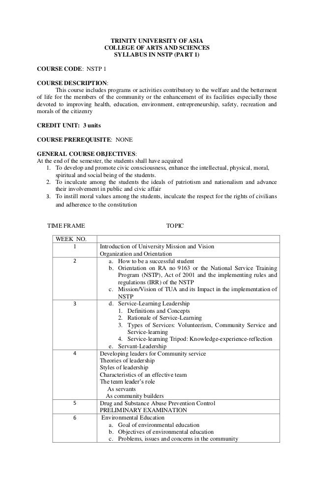 TRINITY UNIVERSITY OF ASIA COLLEGE OF ARTS AND SCIENCES SYLLABUS IN NSTP (PART 1) COURSE CODE: NSTP 1 COURSE DESCRIPTION: ...