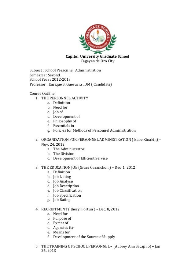 CapitolUniversityGraduateSchool                           CagayandeOroCitySubject:SchoolPe...