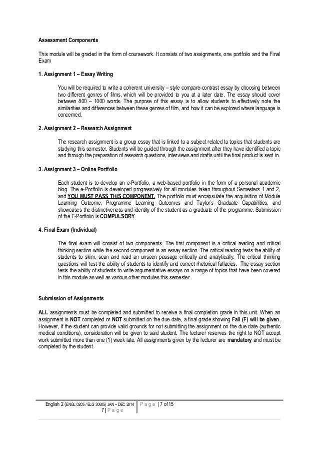 english course syllabus sample