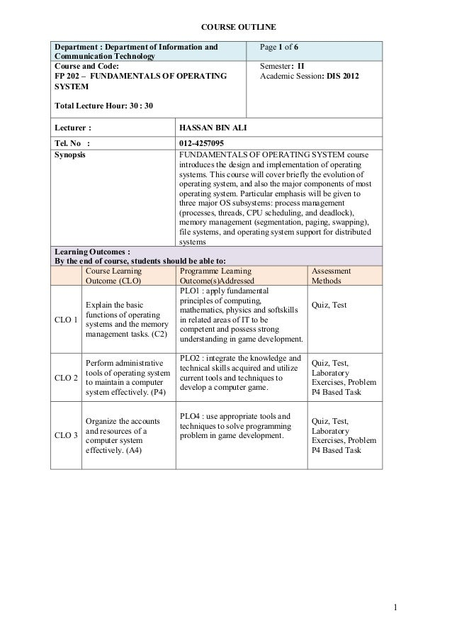 COURSE OUTLINEDepartment : Department of Information and                  Page 1 of 6Communication TechnologyCourse and Co...