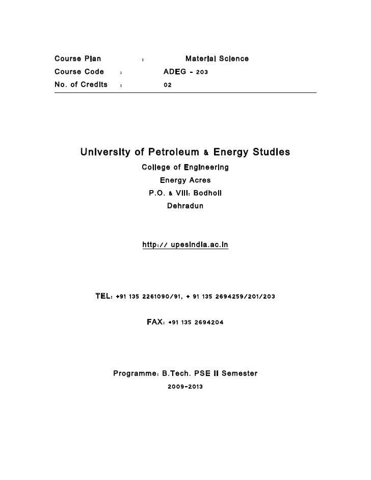 Course Plan              :               Material ScienceCourse Code        :             ADEG – 203No . of Credits    :  ...