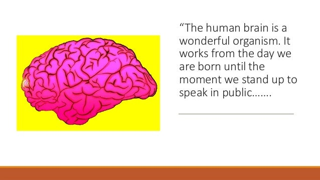 """""""The human brain is a wonderful organism. It works from the day we are born until the moment we stand up to speak in publi..."""