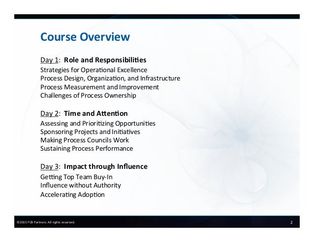 FCB Partners Course Preview:  Process Owners in Action Slide 3
