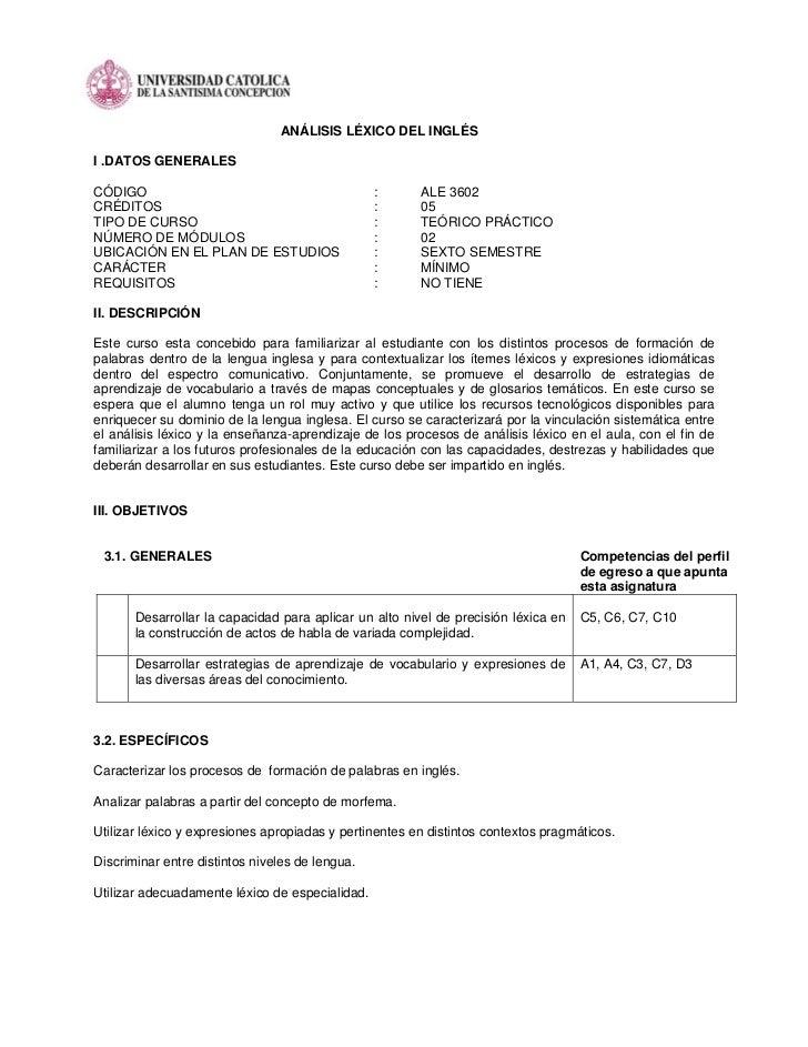 ANÁLISIS LÉXICO DEL INGLÉSI .DATOS GENERALESCÓDIGO                                           :      ALE 3602CRÉDITOS      ...