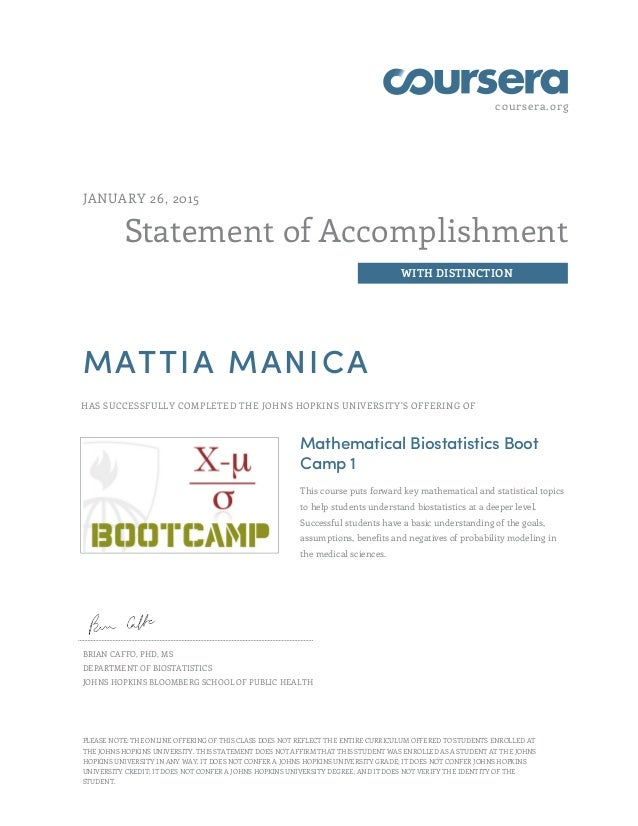 coursera.org Statement of Accomplishment WITH DISTINCTION JANUARY 26, 2015 MATTIA MANICA HAS SUCCESSFULLY COMPLETED THE JO...