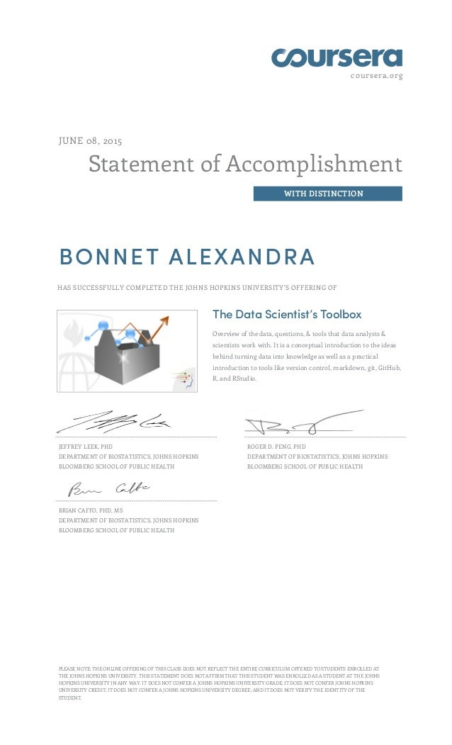 coursera.org Statement of Accomplishment WITH DISTINCTION JUNE 08, 2015 BONNET ALEXANDRA HAS SUCCESSFULLY COMPLETED THE JO...