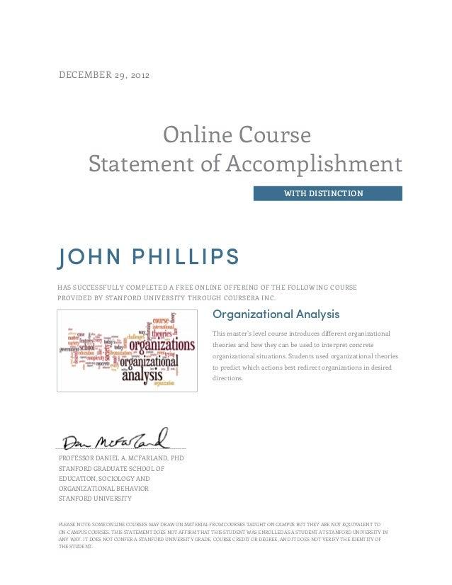Coursera Organisational Analysis Course Certificate