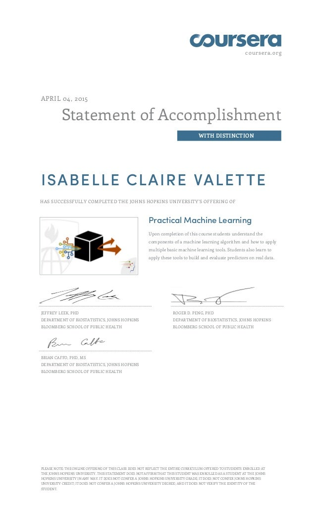 coursera.org Statement of Accomplishment WITH DISTINCTION APRIL 04, 2015 ISABELLE CLAIRE VALETTE HAS SUCCESSFULLY COMPLETE...