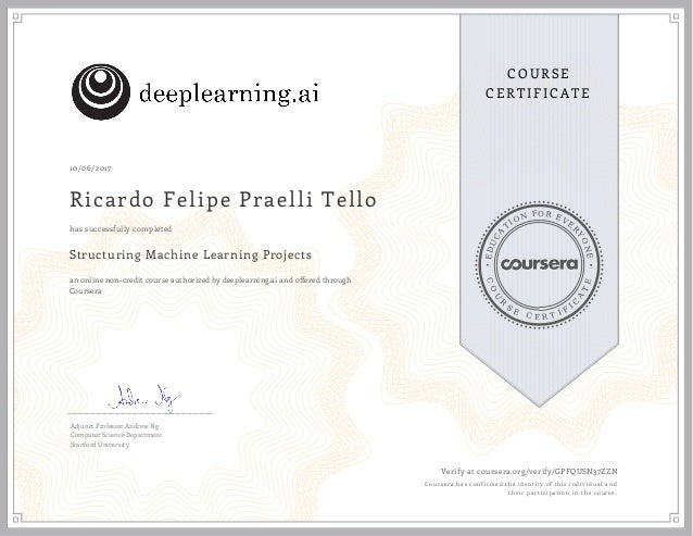 Structuring Machine Learning Projects 2017 Certificate