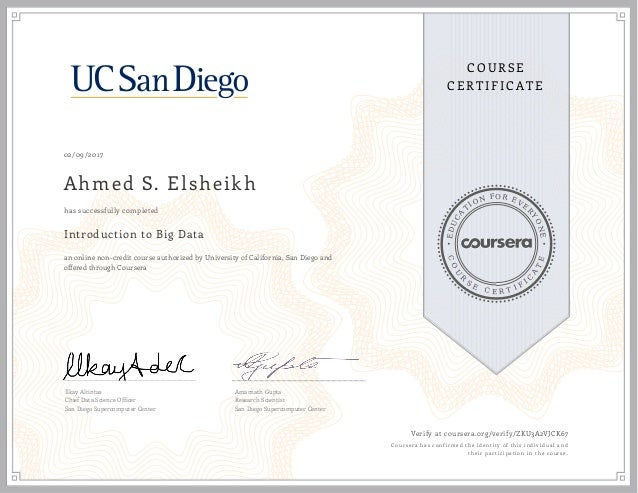 Introduction to Big Data: UC San Diego (Course Course, 2017)