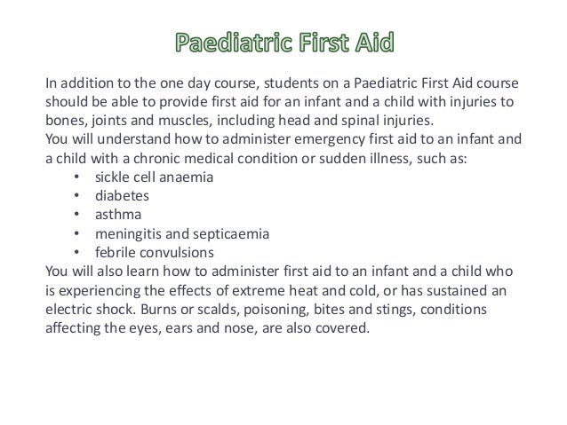 be able to provide first aid for an infant and a child who is unresponsive and not breathing normall Personalized treatment was able to provide survival benefits to patients whose profile is not accounted for by international recommendations, which need to be amended this article is protected by copyright.