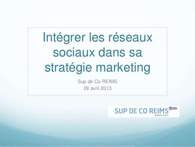 Intégrer les réseauxsociaux dans sastratégie marketingSup de Co REIMS29 avril 2013