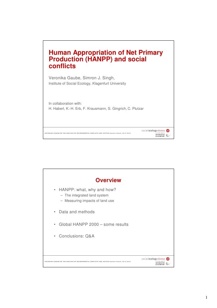 Human Appropriation of Net Primary     Production (HANPP) and social     conflicts     Veronika Gaube, Simron J. Singh,   ...