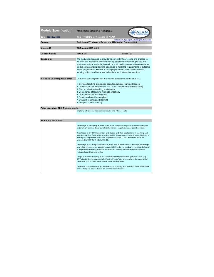 Module Specification            Malaysian Maritime Academy  Date: 19th Nov 2009             Title: Training of Trainers @ ...