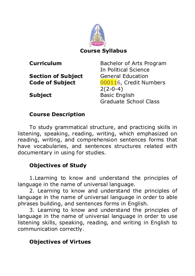 Course SyllabusCurriculum Bachelor of Arts ProgramIn Political ScienceSection of Subject General EducationCode of Subject ...
