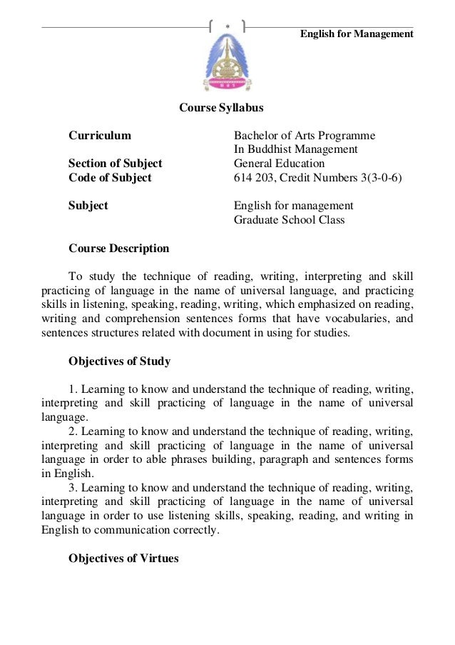English for Management*Course SyllabusCurriculum Bachelor of Arts ProgrammeIn Buddhist ManagementSection of Subject Genera...