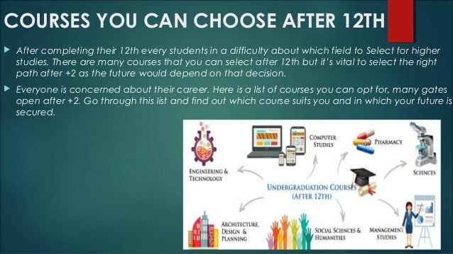 COURSES YOU CAN CHOOSE AFTER 12TH  After completing their 12th every students in a difficulty about which field to Select...