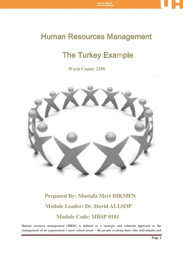 Human Resources Management                            The Turkey Example                                Word Count: 2290  ...