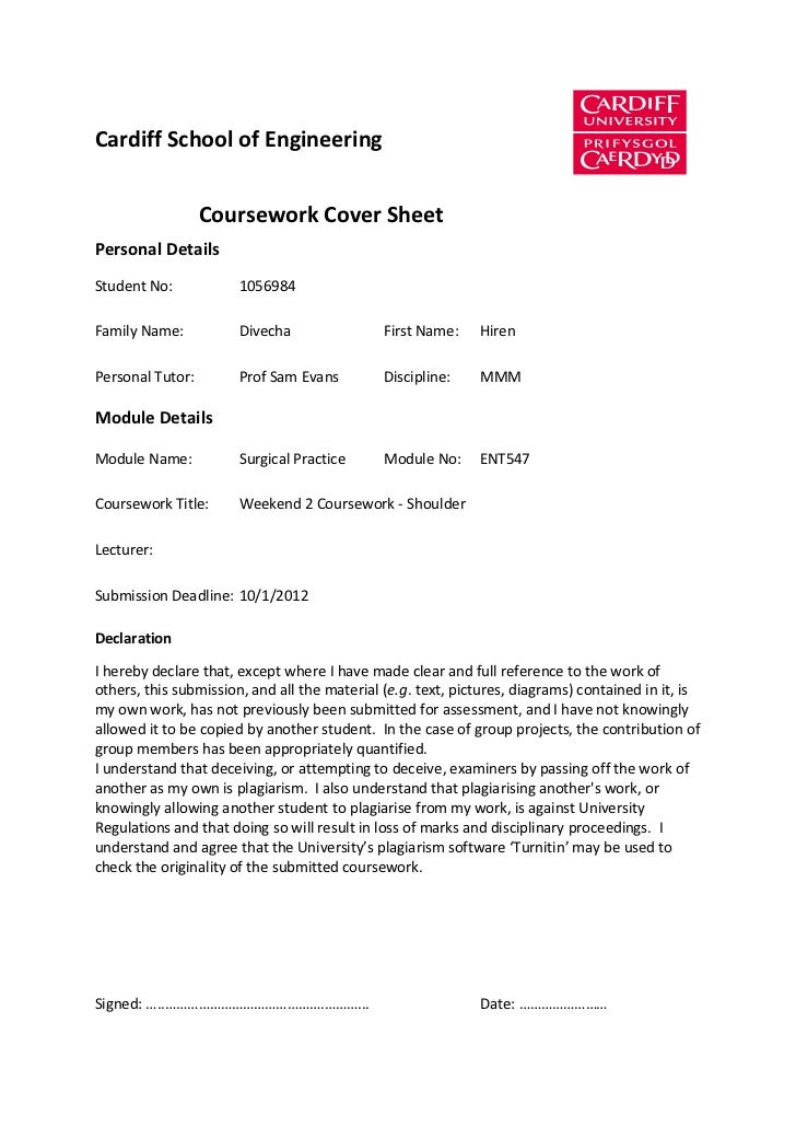 Cardiff School of Engineering                  Coursework Cover SheetPersonal DetailsStudent No:            1056984Family ...