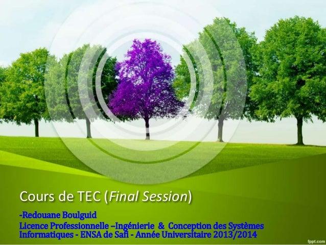 Cours de TEC (Final Session) -Redouane Boulguid Licence Professionnelle –Ingénierie & Conception des Systèmes Informatique...