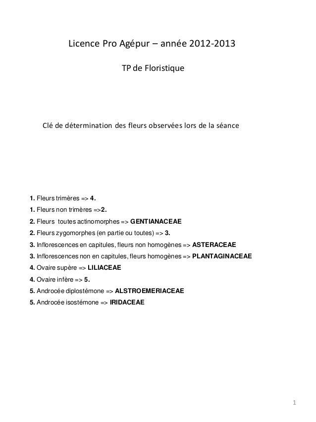Licence Pro Agépur – année 2012-2013                                TP de Floristique    Clé de détermination des fleurs o...